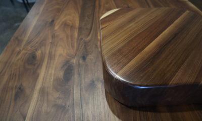 Flat Walnut Table with Satin Walnut Block