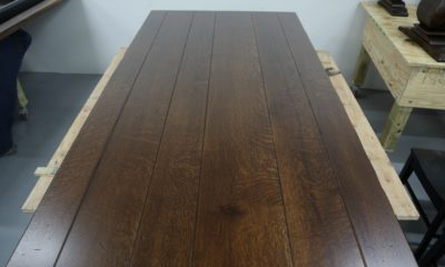 Quarter Sawn White Oak with Heavy Ray Flake Detail in Traditional Brown and Satin Finish