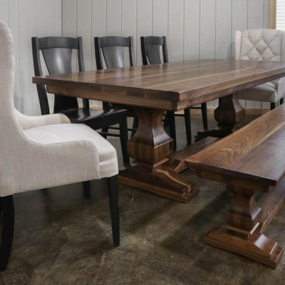 Rustic Elements - Walnut Anchor Pedestal Table & Bench