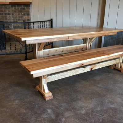 hickory table with drawer