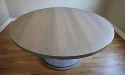 Quarter Sawn Red Oak in Classic Gray with White Ceruse and Flat Finish