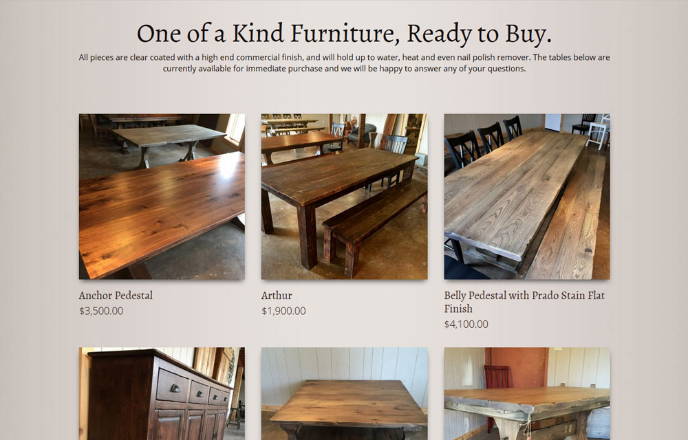 rustic elements furniture new website