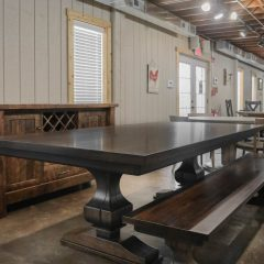 Rustic Elements Furniture - Anchor Pedestal Table & Bench