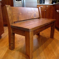 custom wood bench with backrest