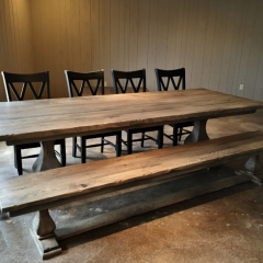 belly pedestal table with bench