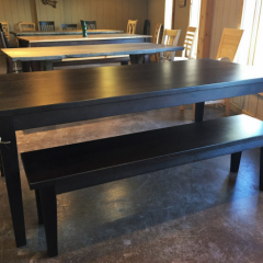 modern hickory table with bench