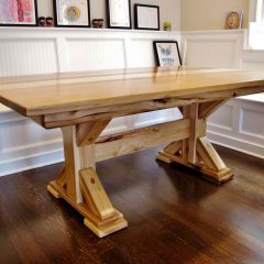 wood table with pedestal base