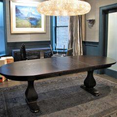 dark oval table