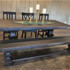 Showroom Franklin Pedestal, 90x38x30, ash top, timber ped, thick top, floor cross brace, grooves, heavy tumbled edge, espresso gray stain, flat finish, bench 5