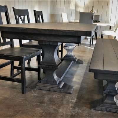Showroom Franklin Pedestal, 90x38x30, ash top, timber ped, thick top, floor cross brace, grooves, heavy tumbled edge, espresso gray stain, flat finish, bench