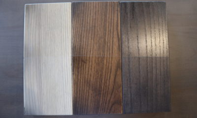<strong>Fog, Botanical, & Gray Espresso Stain Samples</strong><br>Top: Satin/Bottom: Flat