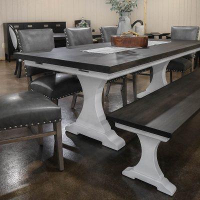Rustic Elements Furniture - Craftsman Pedestal Table & Bench