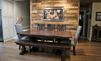 Fabric and wood chairs mixed with all solid wood table and bench - Rustic Elements Furniture