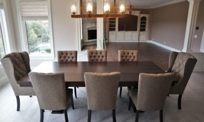 Solid wood dining table set with fabric chairs - Rustic Elements Furniture