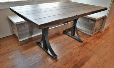 Solid wood top with metal base, wood cross brace - Rustic Elements Furniture