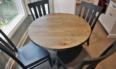 Solid wood table set with contrasting chairs - Rustic Elements Furniture