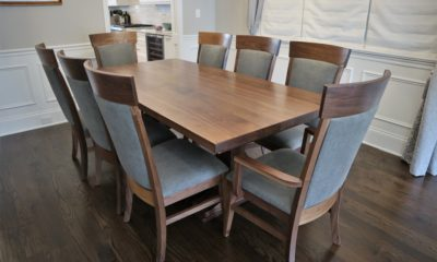 Solid walnut dining table set with fabric back and seats - Rustic Elements Furniture