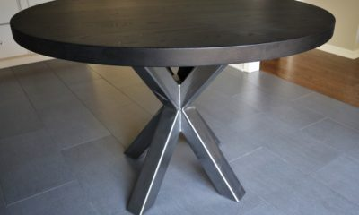 Metal base round with solid wood top - Rustic Elements Furniture