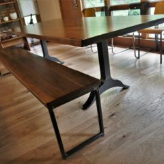Wood table top with metal table and bench with flexible seating - Rustic Elements Furniture