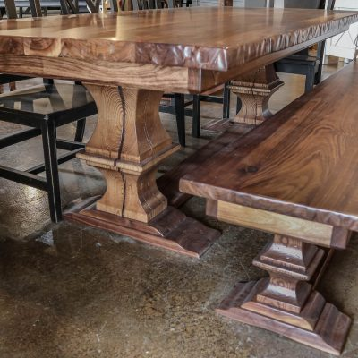 Rustic Elements Furniture Walnut Franklin Pedestal Table