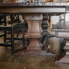 Rustic Elements Furniture - Walnut Timber Franklin Pedestal Table