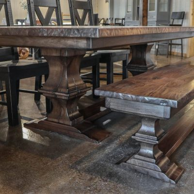 Rustic Elements Furniture - Franklin Pedestal Table & Bench