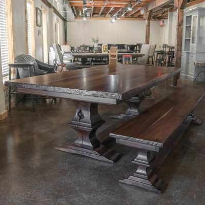 Rustic Elements Furniture - Walnut Franklin Pedestal Table & Bench