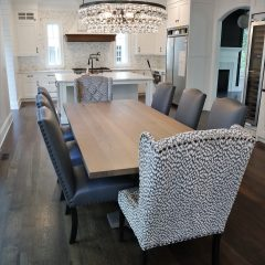 Rustic Elements Table and F&N Custom (Amish) Fabric Chairs