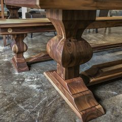 Our Edison pedestal in walnut with a flat finish.