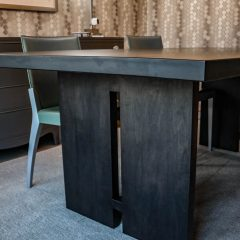Hard maple finished in Black Espresso. An example of our gray influenced tables.