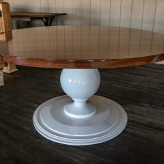 Our Rogers pedestal with a walnut top and solid white base.