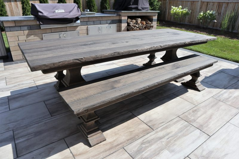 Outdoor table with our Franklin pedestal