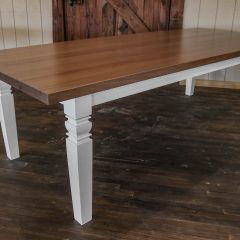 Mahogany Four Leg Table with white turned leg base.