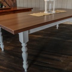 Rustic Elements Furniture Mahogany Top with Turned Legs