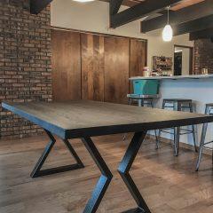 Rustic Elements Furniture Metal Base Table