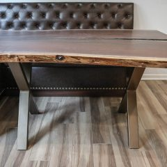 Rustic Elements Furniture - Walnut Slab with a Metal X-Base
