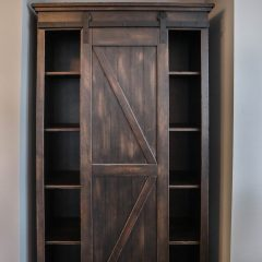 Nolten, Naperville, 84x48x24 Xavier Hutch, 1 sliding barn door, 4 adjustable shelves on each side, brown maple, distressed weather black