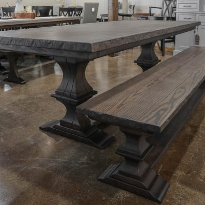 Rustic Elements Furniture - Ash Franklin Pedestal Table & Bench