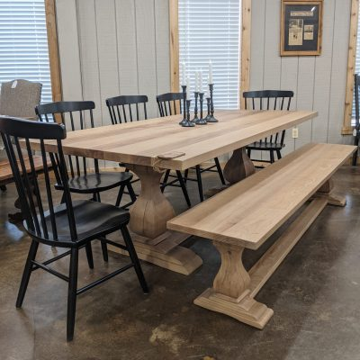 Rustic Elements Furniture - Belly Pedestal Table, Bench, and Cantaberry Chairs