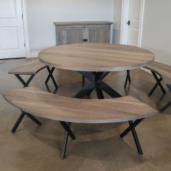 Rustic Elements Furniture - Metal Double X Base With Arched Bench