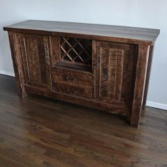 Cockrell, Chicago, 20x68x38 Houston Buffet, two door, two drawer, wine rack, rough sawn brown maple, Almond, Flat