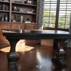 Persohn, St. Charles, 30x60 desk, Anchor 8, hard maple, thick top, apron, clean edge, medium distress, cord cut-out, drawer, Dark Knight, Satin