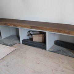 Sterling, Palos Park, 20-22x124 long, bench, walnut slab, natural, gold epoxy, flat