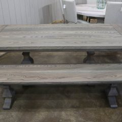 Rustic Elements Furniture - Ash Tuscan Pedestal Table & Bench