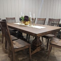 Rustic Elements Furniture - Belly Pedestal Table and Chandler Chairs